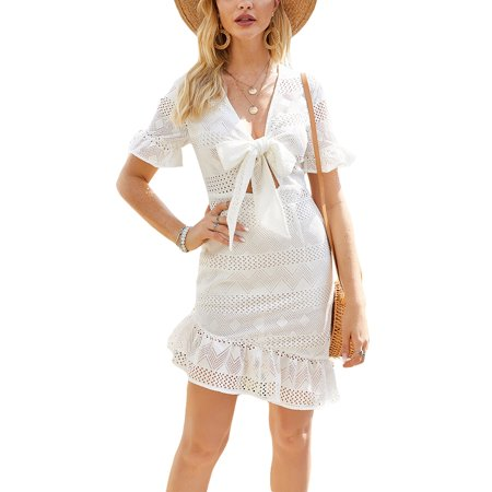 Womens Boho Slim Fit Dress Ladies Summer Holiday Party Beach Swing Dress Women's Ruffle Sleeve V- Neck Summer Casual Solid Color Slim Fit Mini Dress Ladies Fashion Blouse Shirts Beach Holiday