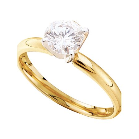 14kt Yellow Gold Womens Round Diamond Solitaire Bridal Wedding Engagement Ring 1/5 Cttw - image 1 de 1