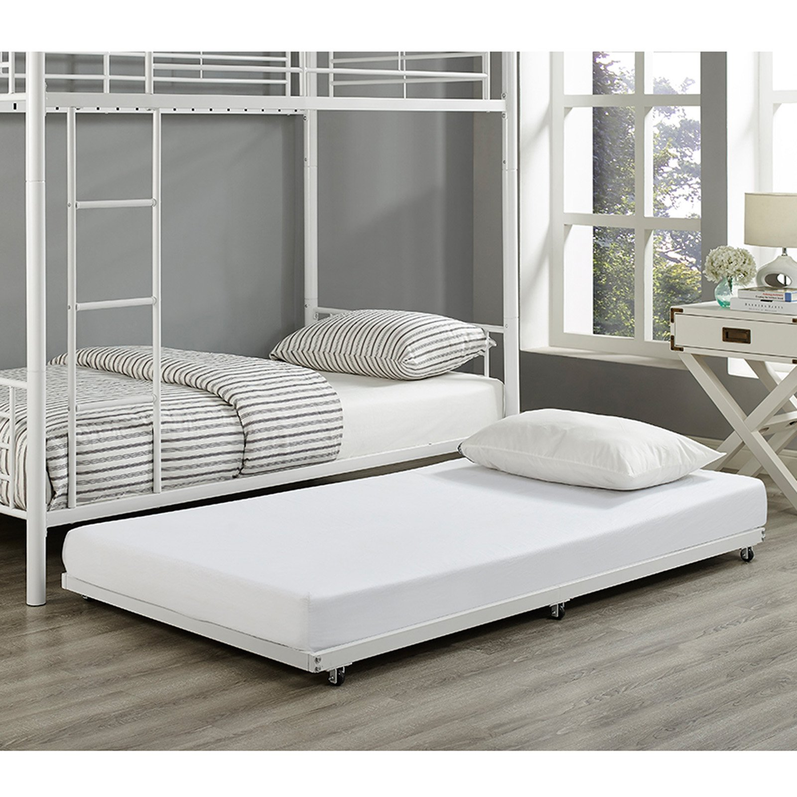 White Twin Roll-Out Trundle Bed Frame