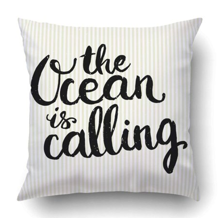BSDHOME Conceptual hand drawn phrase The Ocean is calling Pillowcase Throw Pillow Cover Case 18x18 inches - image 2 of 2