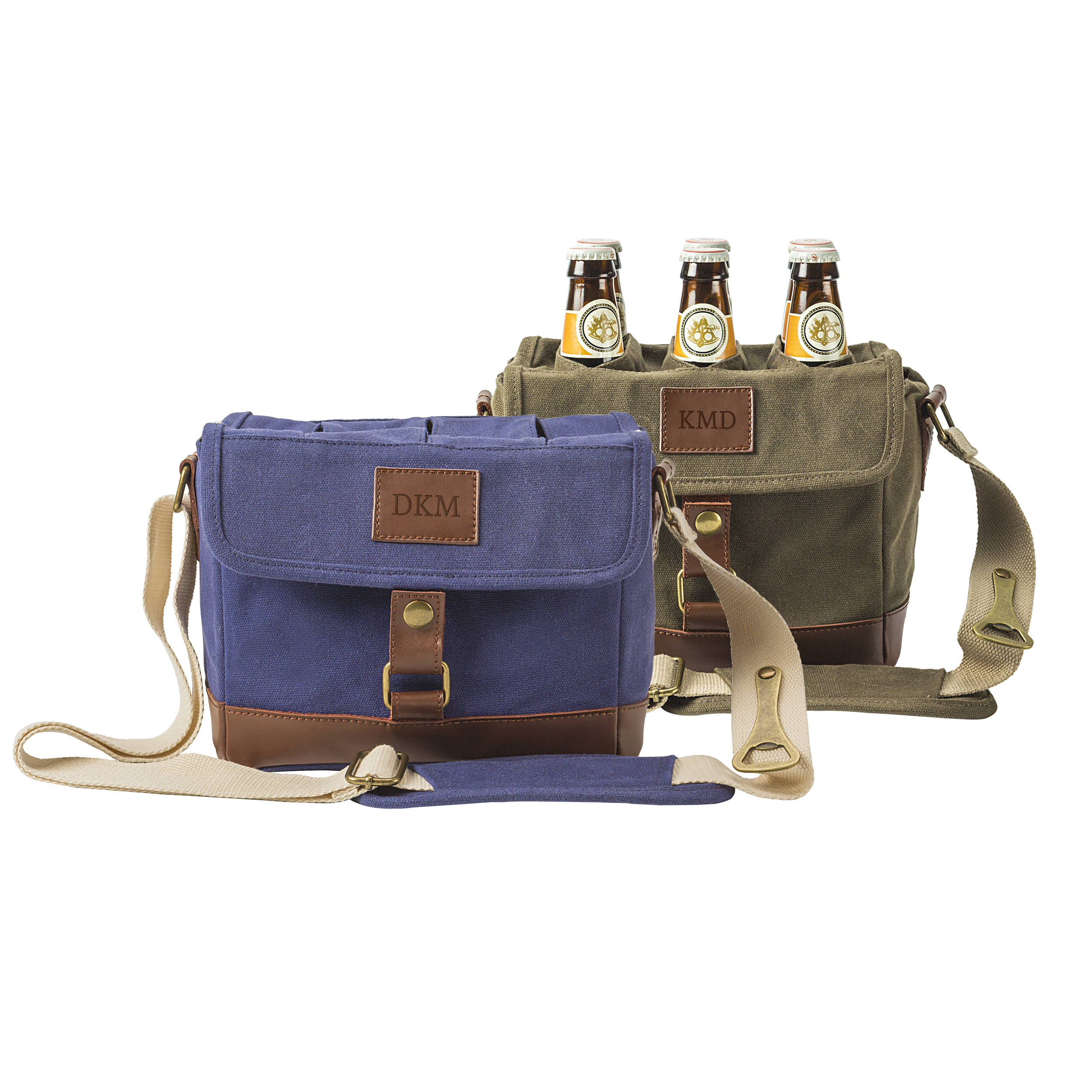 Personalized Insulated Waxed Canvas 6-Pack Bottle Carrier, Olive Green