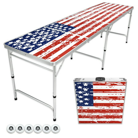 GoPong 8' Foldable American Flag Portable Beer Pong Table for Indoor Outdoor Folding Party Drinking Game Table, 6 Balls Included - Party City Beer Pong Table