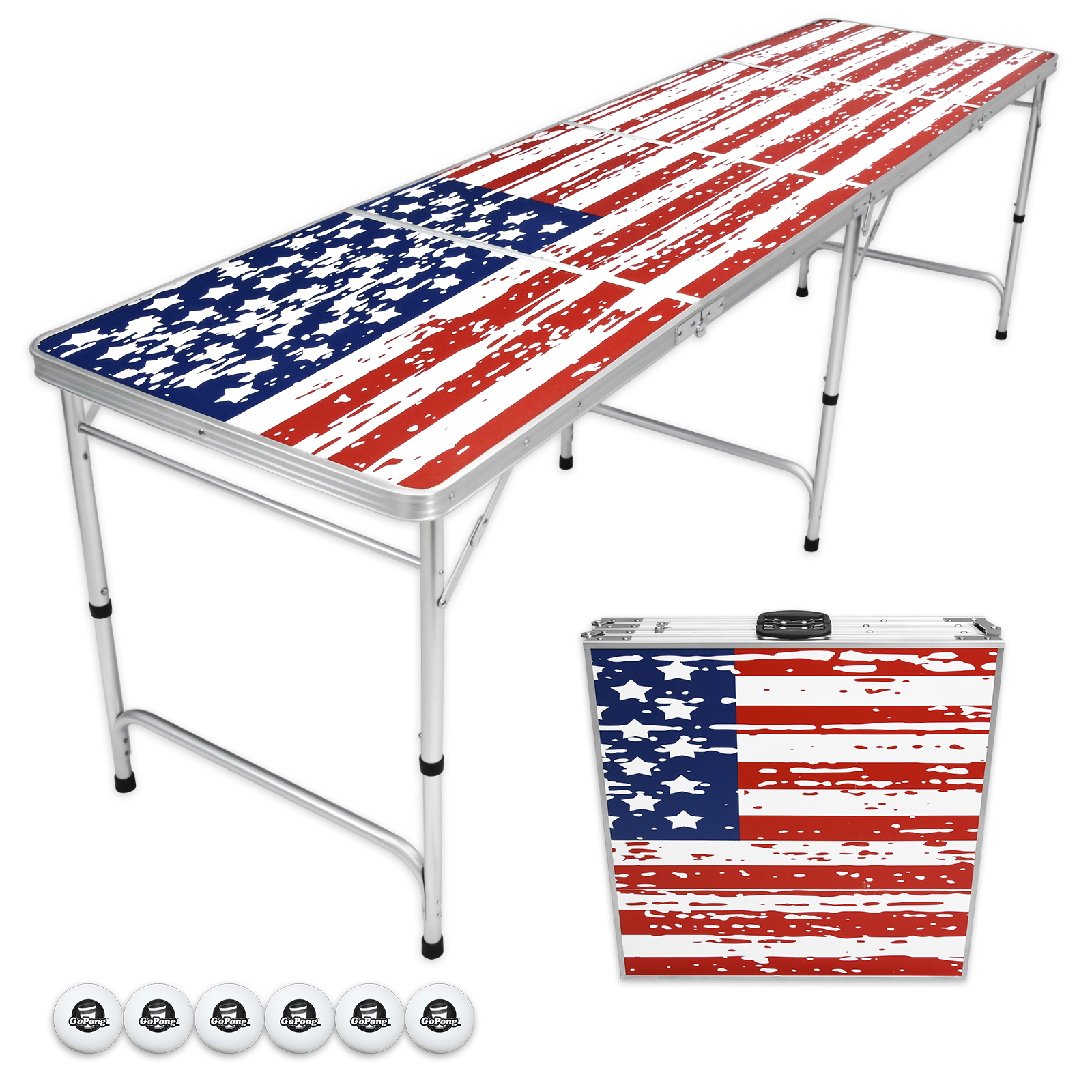 GoPong 8' Foldable American Flag Portable Beer Pong Table for Indoor Outdoor Folding Party Drinking Game Table, 6 Balls Included