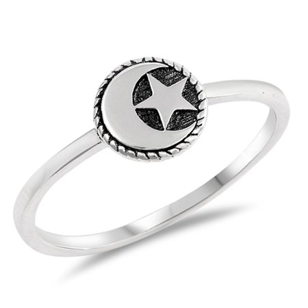 Heart Moon Stars Silver Band (Oxidized Moon Star Simple Dainty Ring 925 Sterling Silver Muslim Band Size 10)