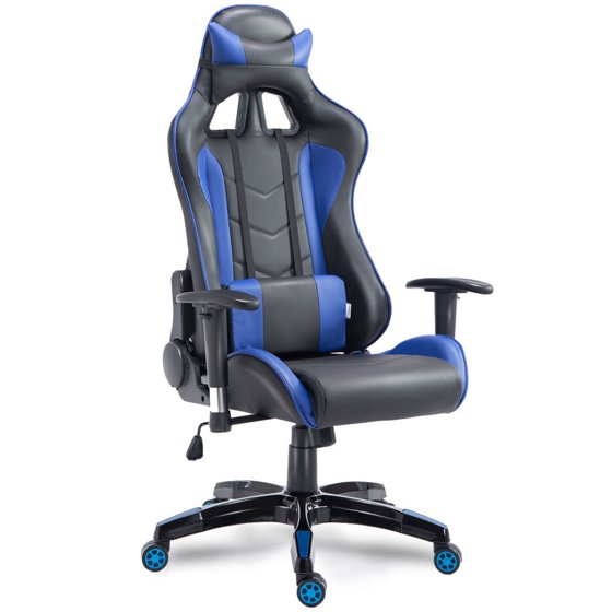 Costway High Back Executive Racing Reclining Gaming Chair Swivel Pu Leather Office