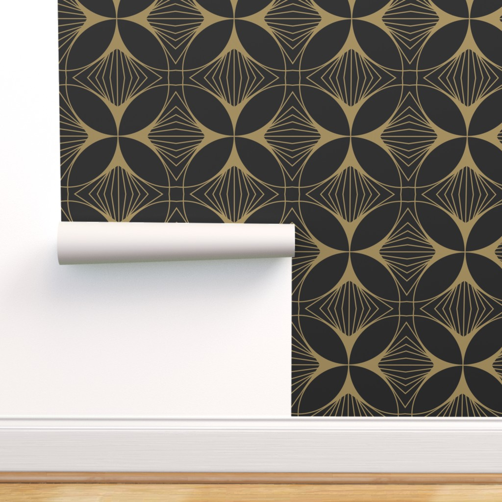 Peel And Stick Removable Wallpaper Art Deco Black Gold Geometic