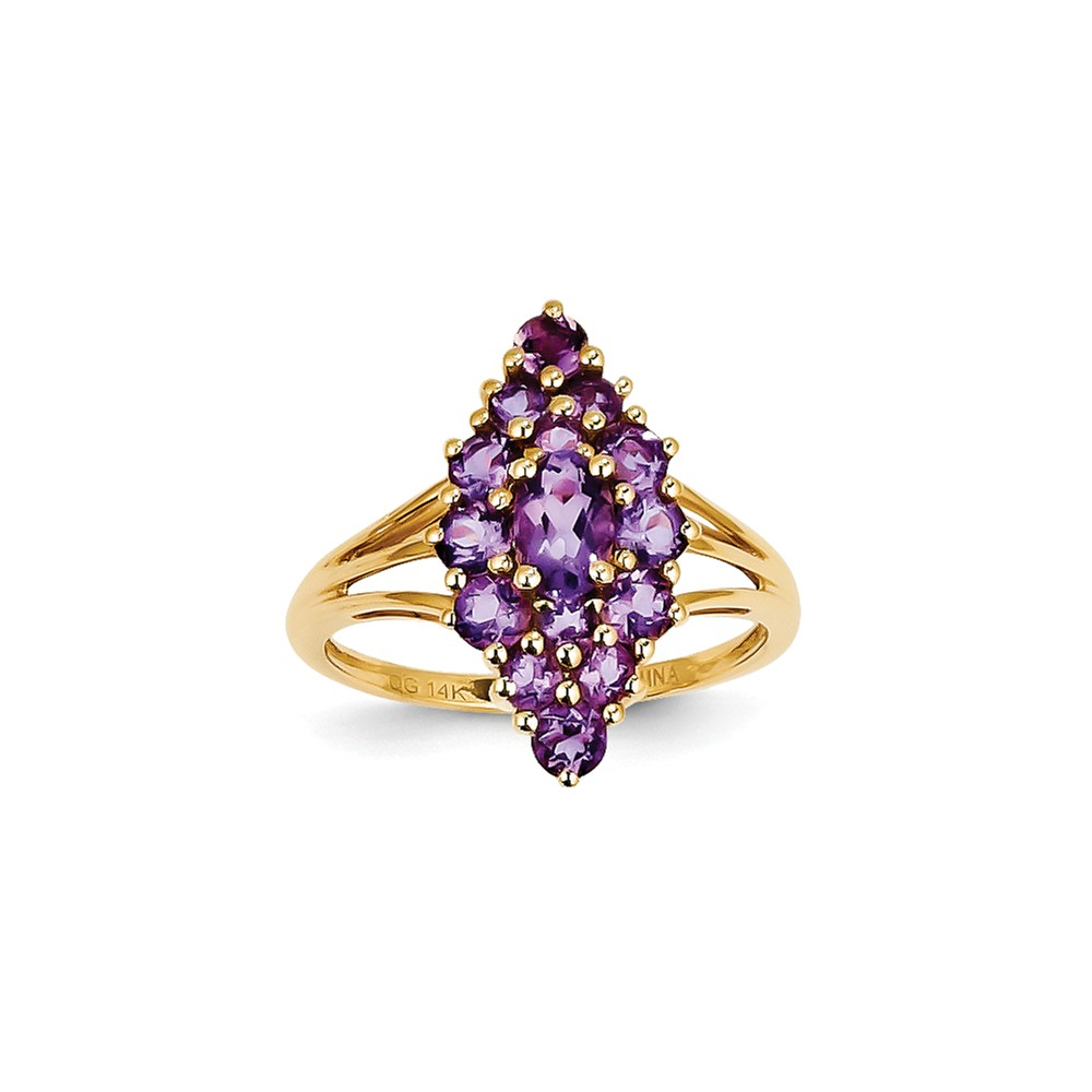 14k Yellow Gold Oval and Round Cluster Amethyst Gemstone Ring. Gem Wt- 1.56ct by Jewelrypot