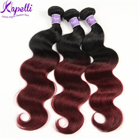 Kapelli Ombre Brazilian Hair Body Wave 3 Bundles Virgin Hair Human Weave Two Tone Black to Burgundy T1B/99J, 14