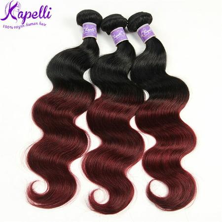 Body Wave Hair Weave - Kapelli Ombre Brazilian Hair Body Wave 3 Bundles Virgin Hair Human Weave Two Tone Black to Burgundy T1B/99J, 14
