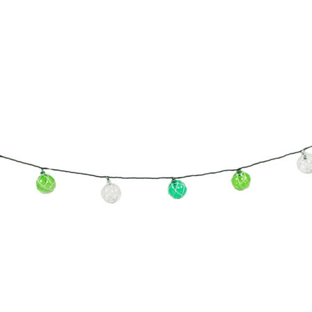 Japanese Floats Electric String Lights Indoor or Outdoor 8.5 Feet Teal and Green ()