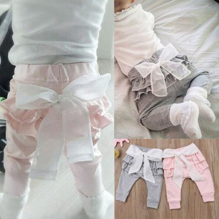 (Fashion Newborn Toddlers Baby Girls Casual Bottoms Trousers Long Bowknot Pants)