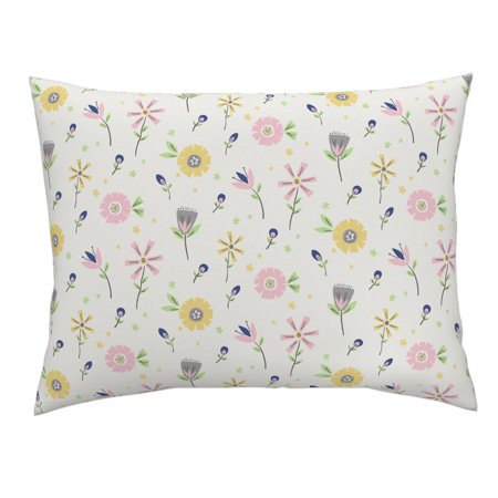 Floral Retro Style Collage Flowers Geometric Cut Out Pillow Sham by Roostery