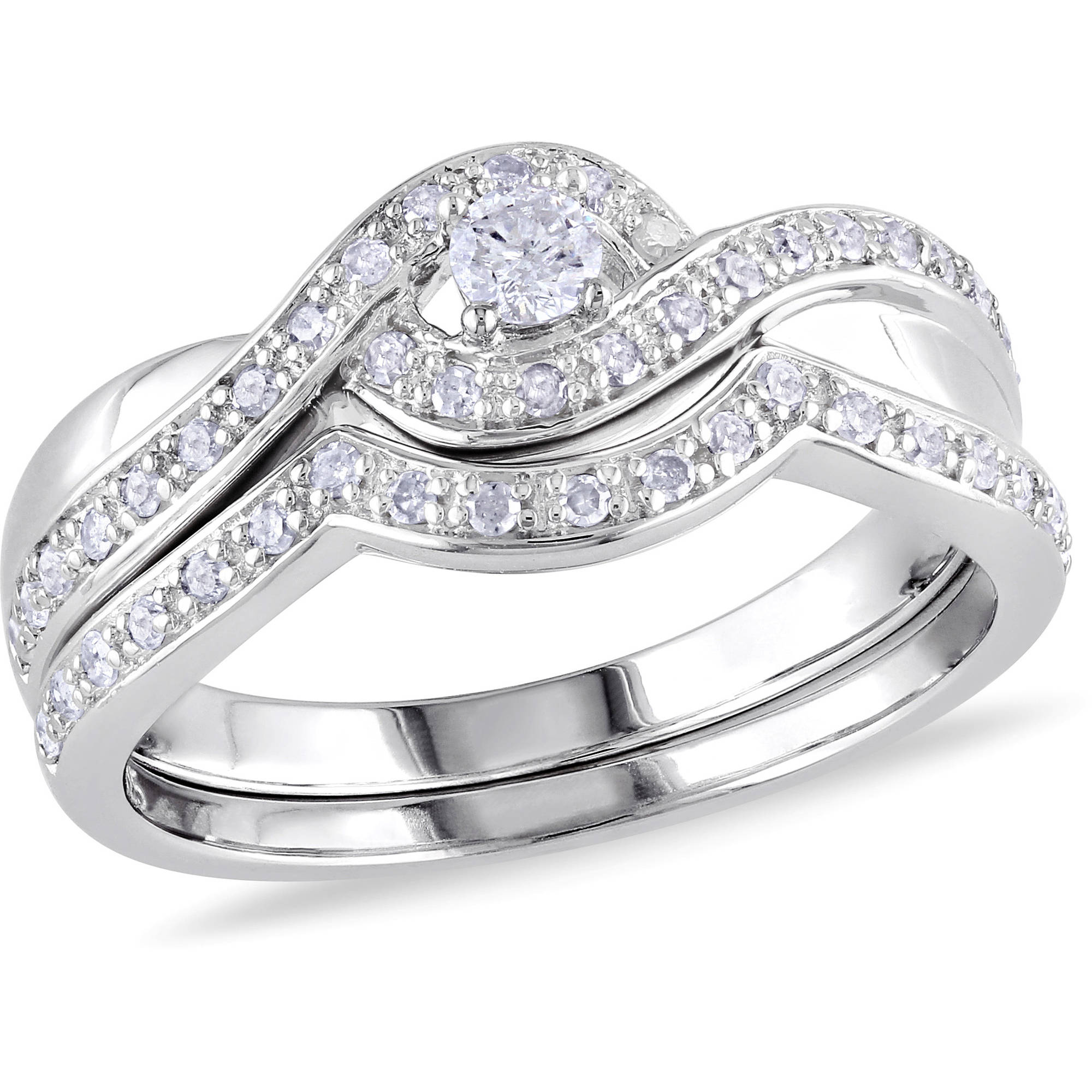 Miabella 1 3 Carat T.W. Diamond Sterling Silver Bypass Bridal Set by Delmar Manufacturing LLC