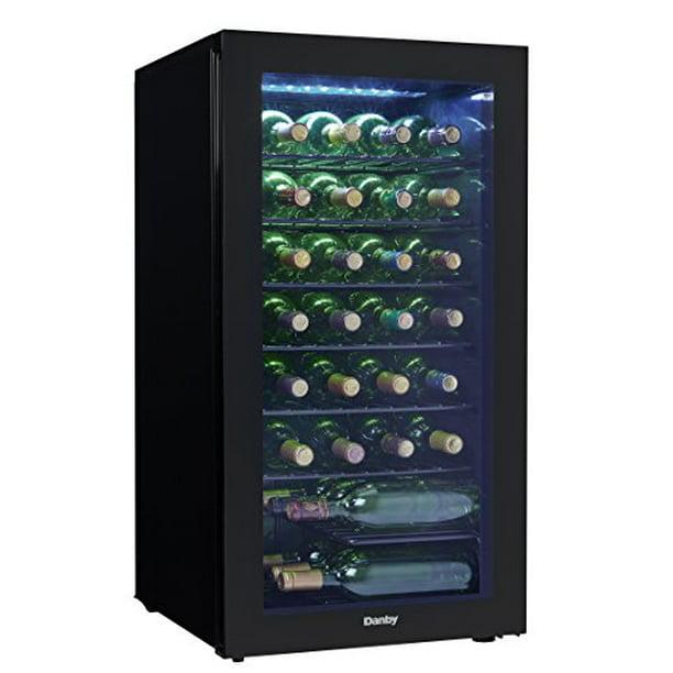 Danby DWC036A2BDB-6 18 Black Wine Cooler with 36 Bottle Capacity Blue LED Lights
