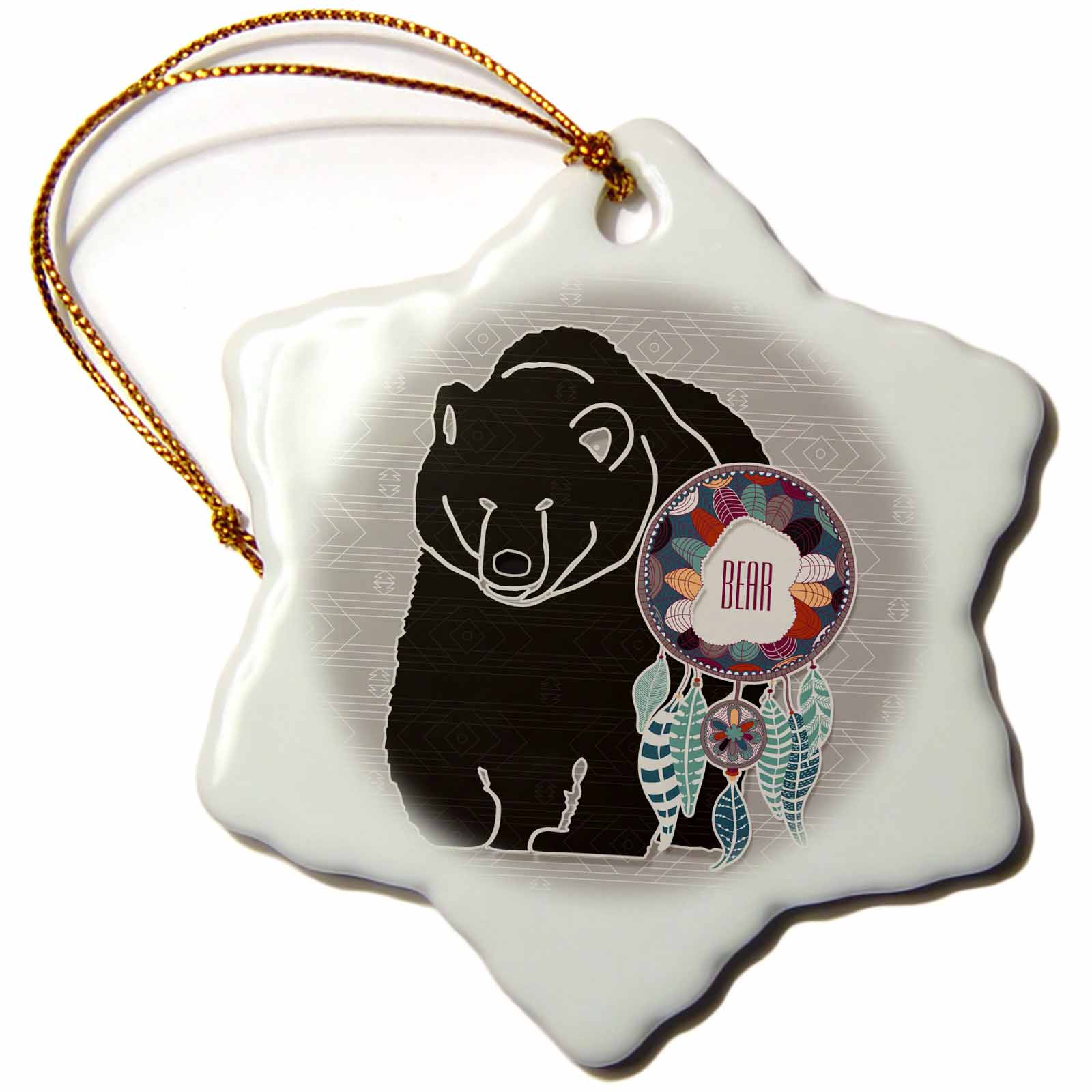3dRose Native American Zodiac for August 22 to September 21 Brown Bear, Snowflake Ornament, Porcelain, 3-inch
