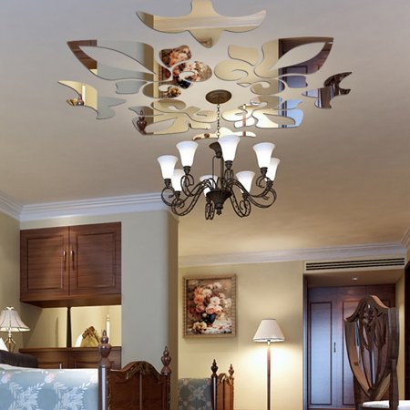 Creative Abstract Acrylic Style 3D Wall Stickers Mirror Ceiling Wall Mirrors SL