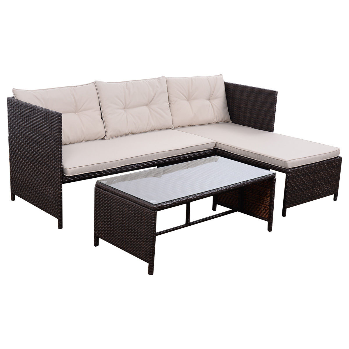 Costway 3 PCS Outdoor Rattan Furniture Sofa Set Lounge Chaise Cushioned Patio Garden New by Costway