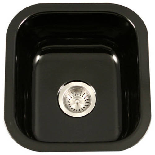 Houzer PCB-1750 BL Porcela Series Porcelain Enamel Steel Undermount Bar/Prep Sink, Black