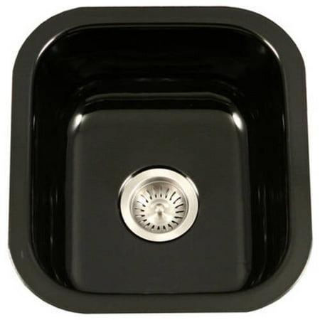 Houzer PCB-1750 BL Porcela Series Porcelain Enamel Steel Undermount Bar/Prep Sink, Black Vintage Porcelain Sink