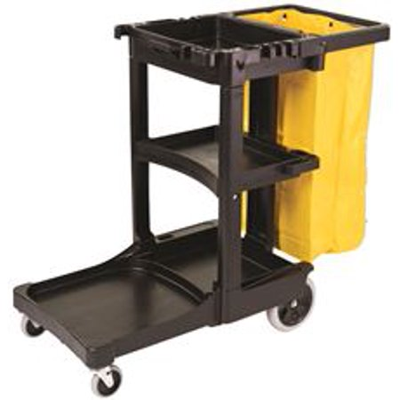 Rubbermaid Cart Replacement Wheels - Rubbermaid Commercial FG617388BLA Housekeeping 3-Shelf Janitor Cart With Zippered Yellow Vinyl Bag, Black