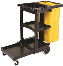 Rubbermaid Commercial FG617388BLA Housekeeping 3-Shelf Janitor Cart With Zippered Yellow Vinyl Bag, Black