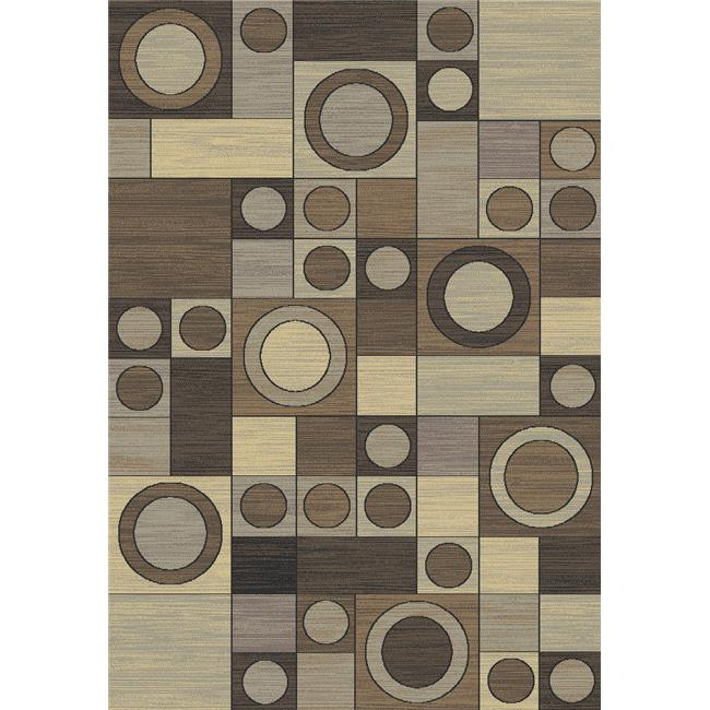 IMS 22530915010071 Geometric Design Circles Contemporary Area Rug, Gray - 3 x 5 ft.
