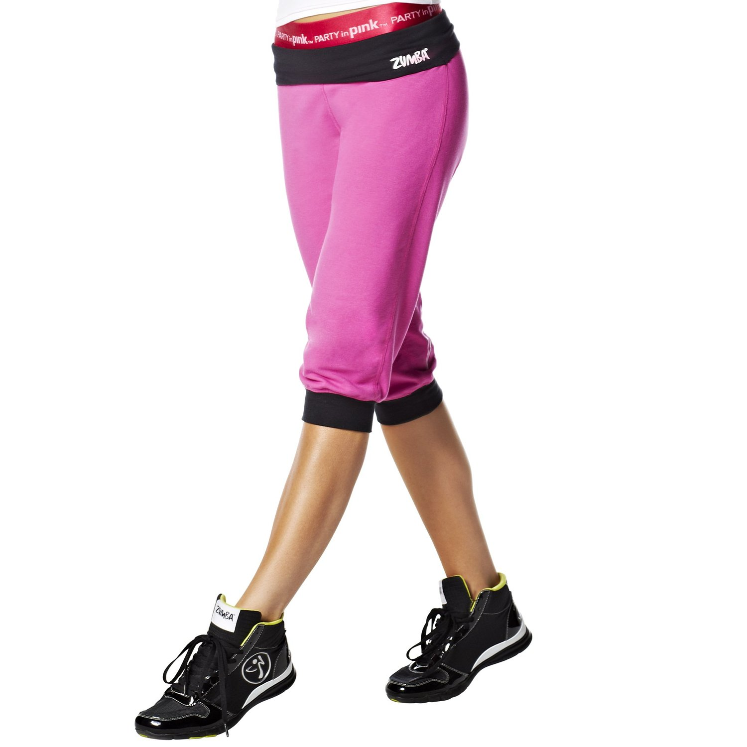 NWT Zumba Women's Fitness Groove For The Cure Logo Stamp Capri Pants A0P00127 by Zumba