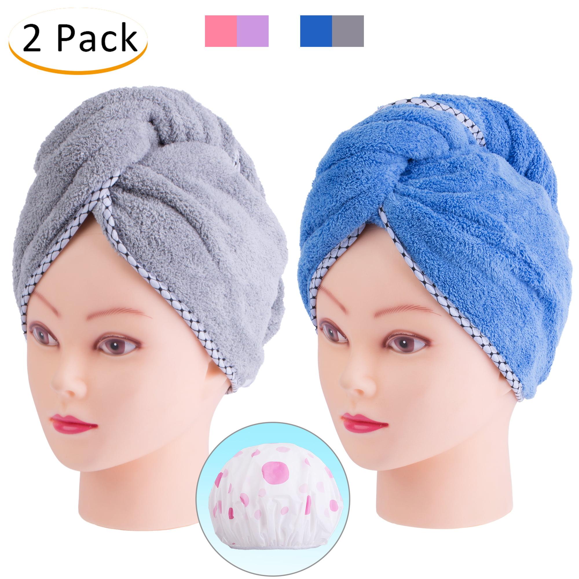 JML Hair Towel Cap Set, Quick Dryer, Pack of 2 Coral Fleece Magic Hair Turban Wrap for Bath Spa Hot Tube and Makeup- Grey+Blue