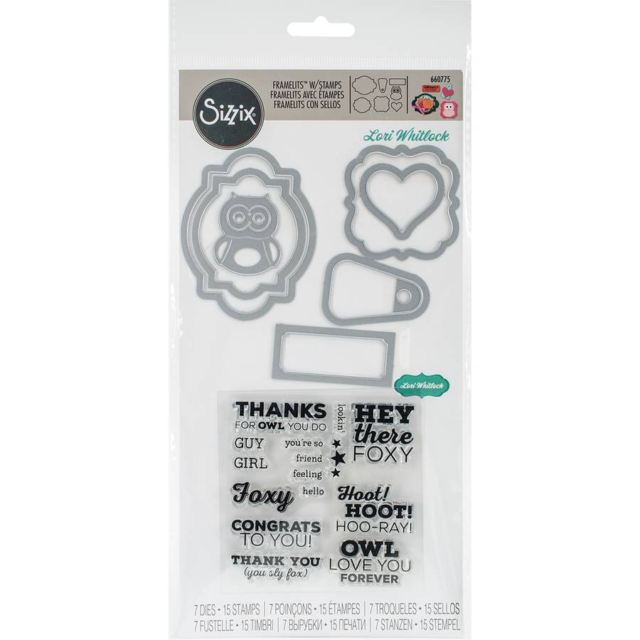 Sizzix Framelits Dies with Clear Stamps, Fox and Owl Sentiments,, 7pk