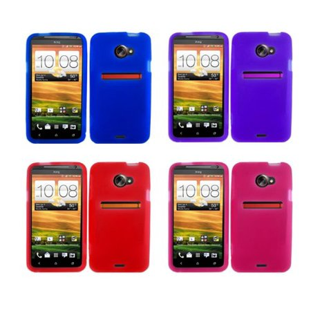 4-pack Silicone Skin Case for Evo 4G LTE - Blue, Purple, Red, Hot Pink