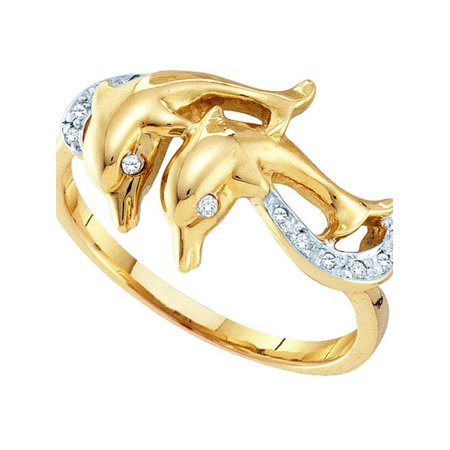 (10kt Yellow Gold Womens Round Diamond Double Dolphin Accent Ring 1/20 Cttw)