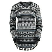 Outback Trading Sweater Womens Dakota Poncho Aztec Print Gray 40120