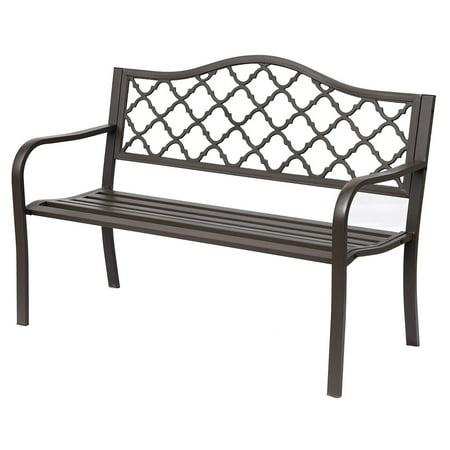 Outsunny Cast Iron 50 in. Decorative Diamonds Outdoor Garden Bench ()