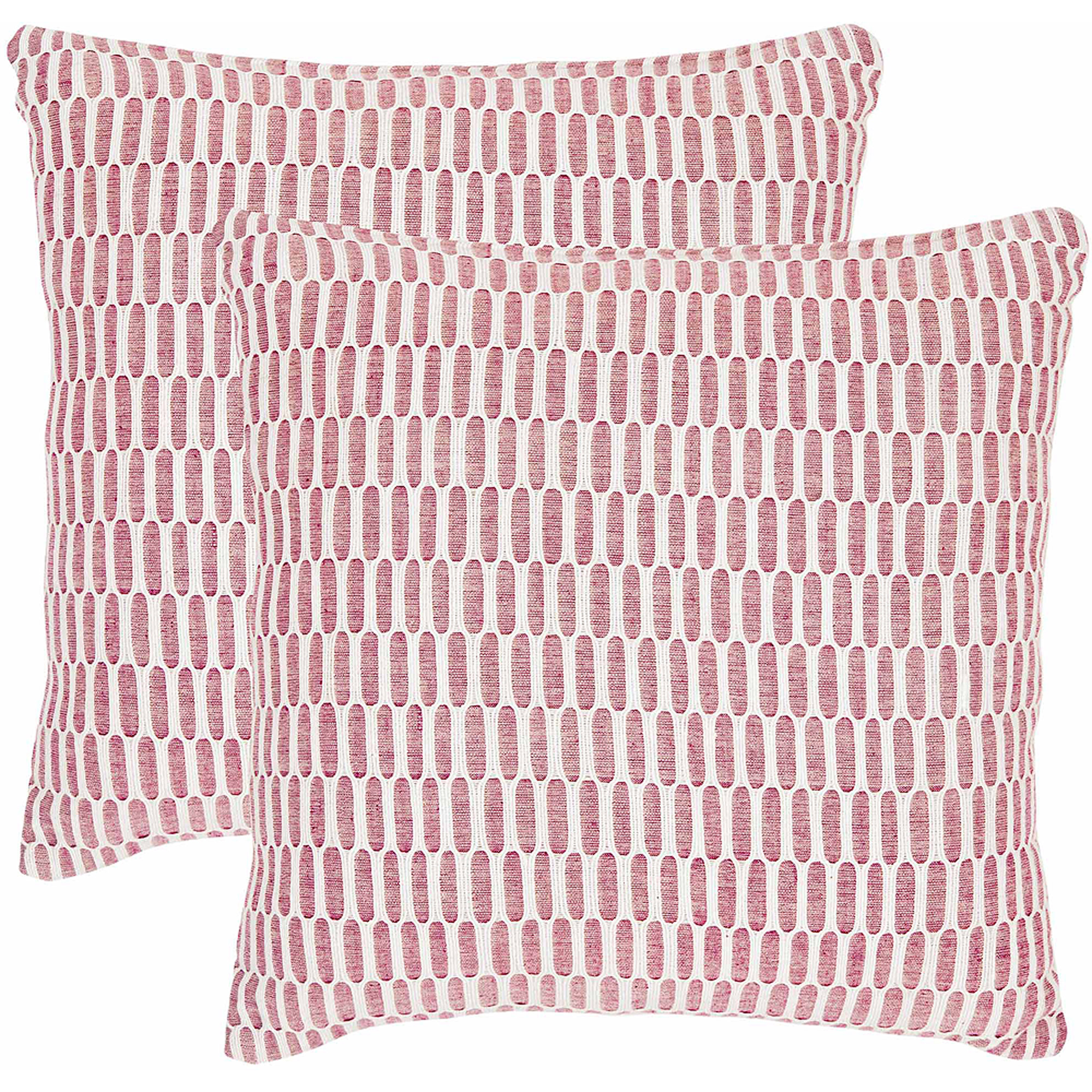 Safavieh Honeycomb Pillow, Red, Set of 2