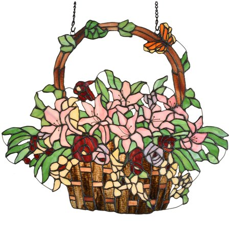 Tiffany Basket (Bieye W10037 Lily and Rose Flower Gaily Decorated Basket 24-inch Tiffany Style Stained Glass Window Panel Wall Hangings )