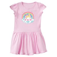 4th Birthday Unicorn Rainbow Cute Girls Toddler Dress