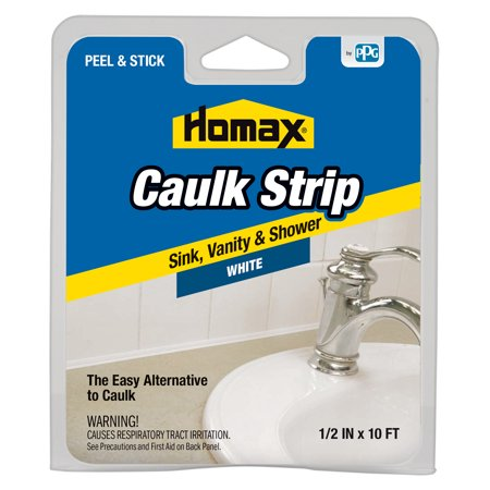 (3 Pack) Homax Caulk Strip, Sink, Vanity & Shower, White, .50