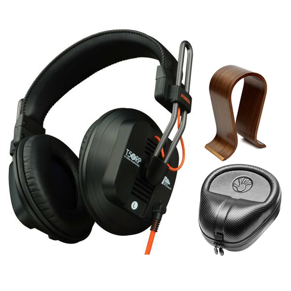 Fostex Professional Studio Headphones (T50RPMK3) with Universal Wood Headphone Stand & Slappa HardBody PRO Full Sized Headphone Case Black