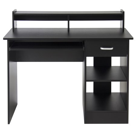 Best Choice Products Commercial Home Computer Laptop Work Station Desk Table w/ Removable Shelf Divider, Open Back for Home, College, Office - Black