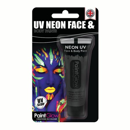 PaintGlow Unreactive Neon Face Party Make up 10ml Body Paint, Black](Black Face Paint Halloween Designs)