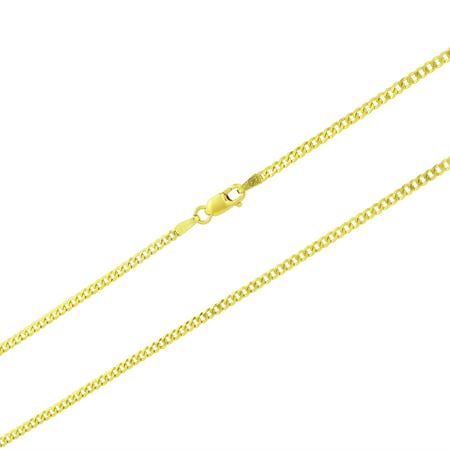 14k Yellow Gold Womens Solid 2mm Cuban Curb Chain Pendant Necklace, 16