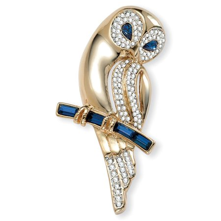 Simulated Blue Sapphire and Crystal Owl Pin 4 TCW in Yellow Gold Tone