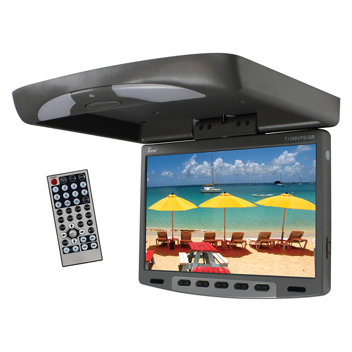 Tview 13'' Flipdown Wide Screen W/Built in DVD Player-Gray