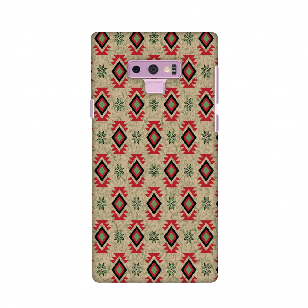 Samsung Galaxy Note9 Case, Premium Handcrafted Designer Hard Shell Snap On Case Shockproof Printed Back Cover forSamsung Galaxy Note9 - Cool tribals- Deep red and beige