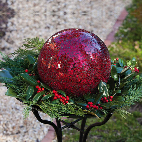 Red Mosaic Gazing Ball by Evergreen by EVERGREEN ENTERPRISES