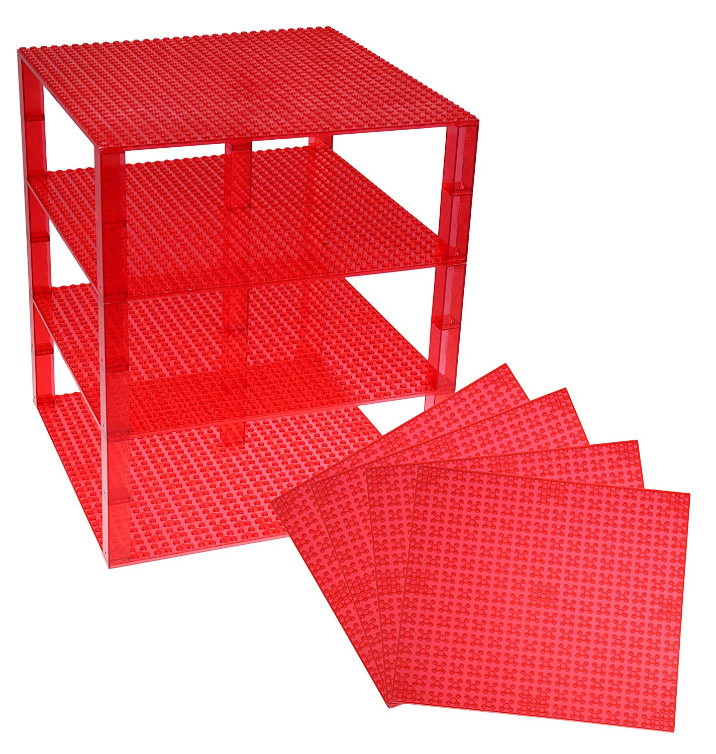 "Premium Clear Red Stackable Base Plates - 4 Pack 10"" x 10"" Baseplate Bundle with 30 New and Improved 2x2 Stackers - LEGO® Compatible - Tower Construction"