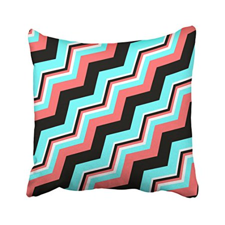 Awe Inspiring Winhome Trendy Black White Coral Teal Chevron Polyester 18 X 18 Inch Square Throw Pillow Covers With Hidden Zipper Home Sofa Cushion Decorative Dailytribune Chair Design For Home Dailytribuneorg