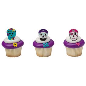 24 Skull Characters Halloween Cupcake Cake Rings Birthday Party Favors Toppers](Spooky Sweets Best Halloween Cakes And Cupcakes)