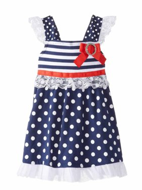 Little Lass Infant Toddler Girls Patriotic Ruffled Dress Polka Dot Sun Dress