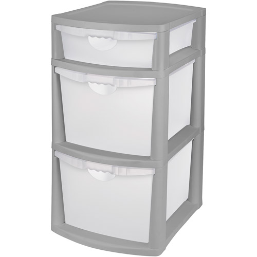 Sterilite 3-Drawer Titanium Bin, Gray